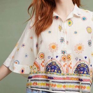Anthropologie Maeve Eliot Popover Boho Blouse Sz S